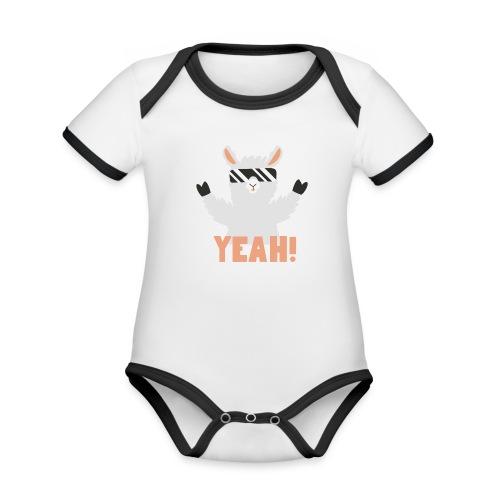Cool Llama YEAH! - Kortærmet økologisk babybody i kontrastfarver