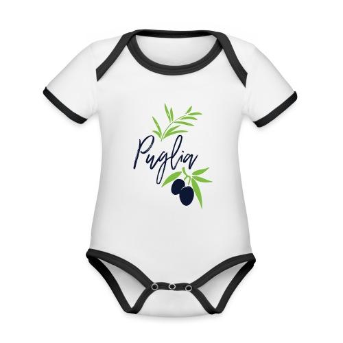 Puglia - Body da neonato a manica corta, ecologico e in contrasto cromatico