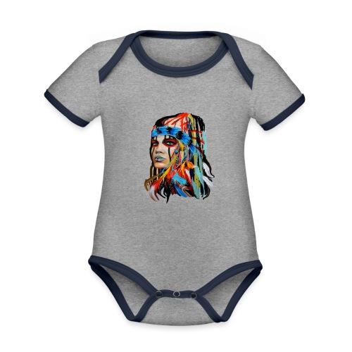 Pióra i pióropusze - Ekologiczne body niemowlęce z krótkim rękawem i kontrastowymi lamówkami
