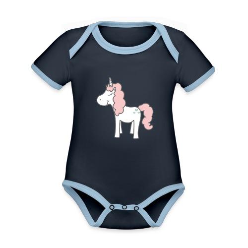 unicorn as we all want them - Kortærmet økologisk babybody i kontrastfarver
