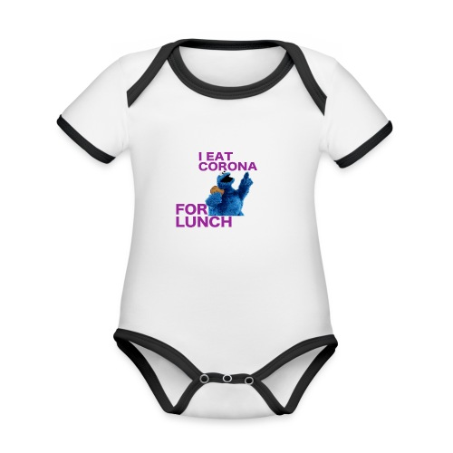 I eat corona for lunch - coronavirus shirt - Baby contrasterend bio-rompertje met korte mouwen