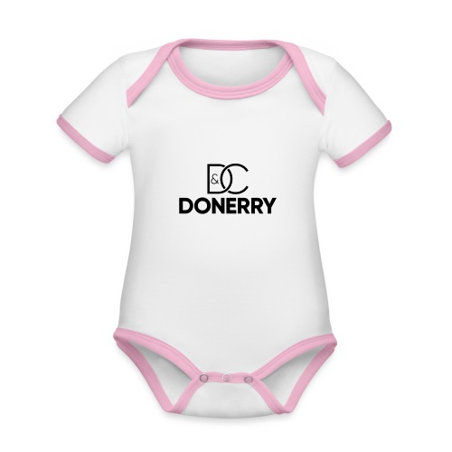 DONERRY Black Logo on White - Organic Baby Contrasting Bodysuit