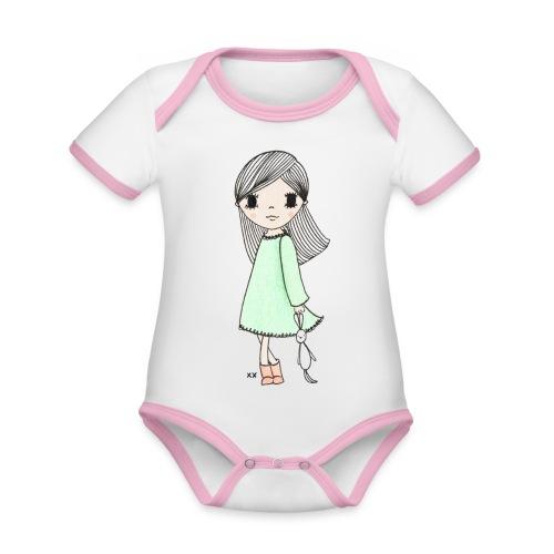 meisje met knuffel - Baby contrasterend bio-rompertje met korte mouwen