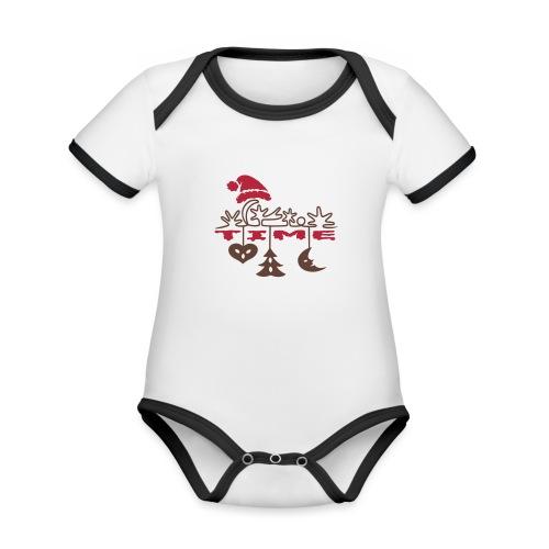 Weihnachten - Baby Bio-Kurzarm-Kontrastbody