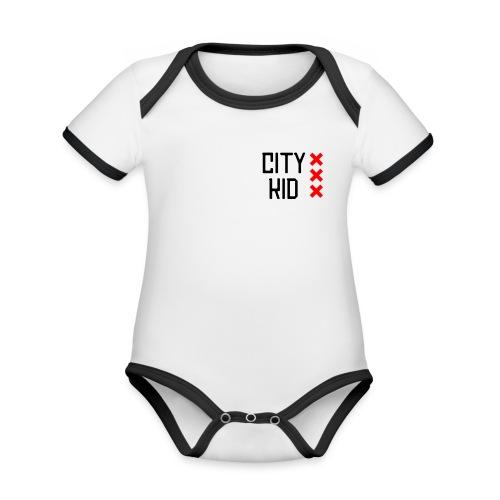 City kid (zwart) - Baby contrasterend bio-rompertje met korte mouwen