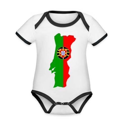 Portugal - Baby contrasterend bio-rompertje met korte mouwen