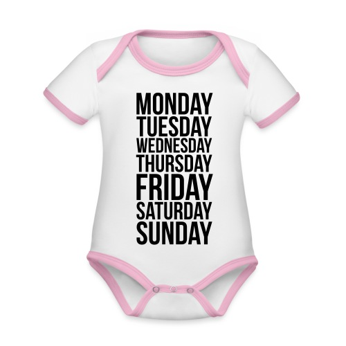 Days of the Week - Organic Baby Contrasting Bodysuit