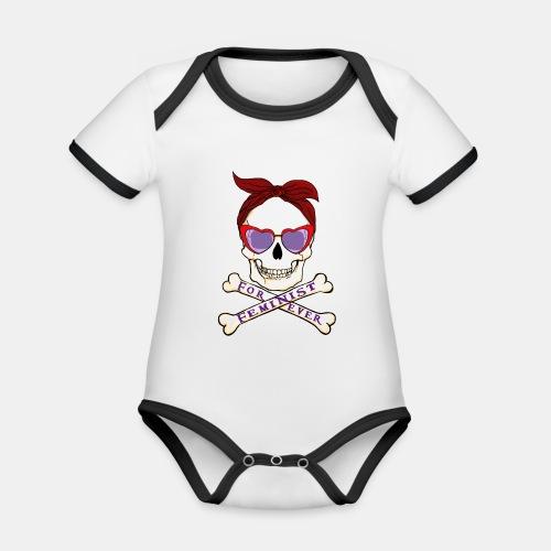Feminist skull - Body contraste para bebé de tejido orgánico