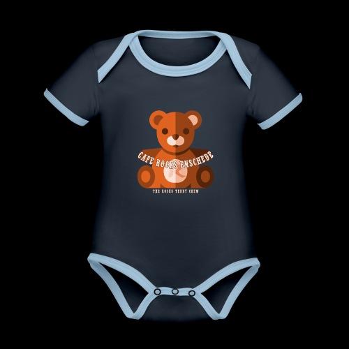 Rocks Teddy Bear - Brown - Baby contrasterend bio-rompertje met korte mouwen