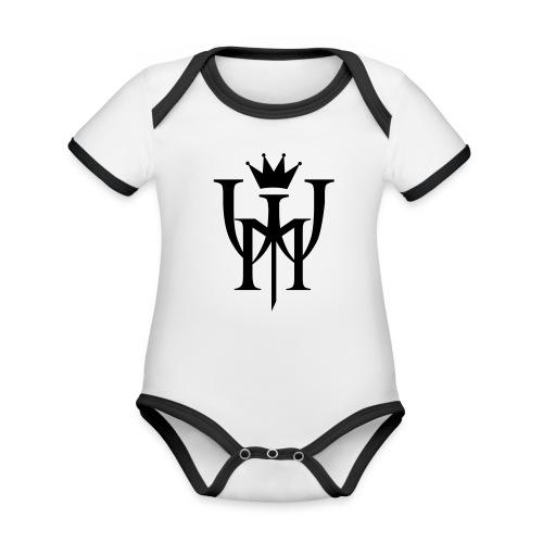 Logo MW Czarne - Ekologiczne body niemowlęce z krótkim rękawem i kontrastowymi lamówkami