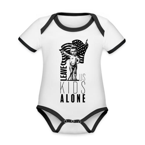 Leave us kids alone - Body Bébé bio contrasté manches courtes