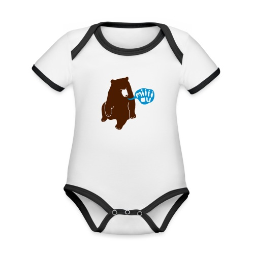 Bär sagt Miau - Baby Bio-Kurzarm-Kontrastbody