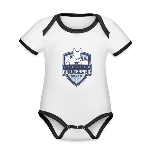 English Bull Terrier Mountains - Baby Bio-Kurzarm-Kontrastbody