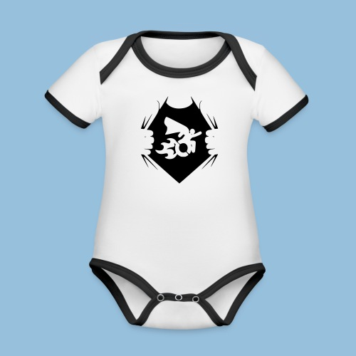 Wheelchair shirt 001 - Baby contrasterend bio-rompertje met korte mouwen