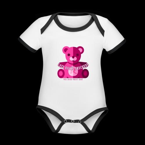 Rocks Teddy Bear - Pink - Baby contrasterend bio-rompertje met korte mouwen