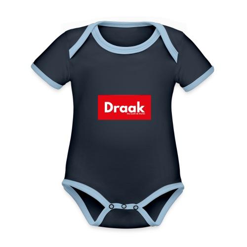 Draak League Spartan - Baby contrasterend bio-rompertje met korte mouwen