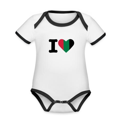 hartjeroodzwartgroen - Baby contrasterend bio-rompertje met korte mouwen