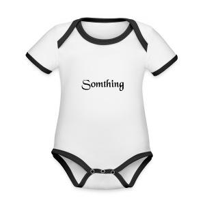 somthing - Baby contrasterend bio-rompertje met korte mouwen