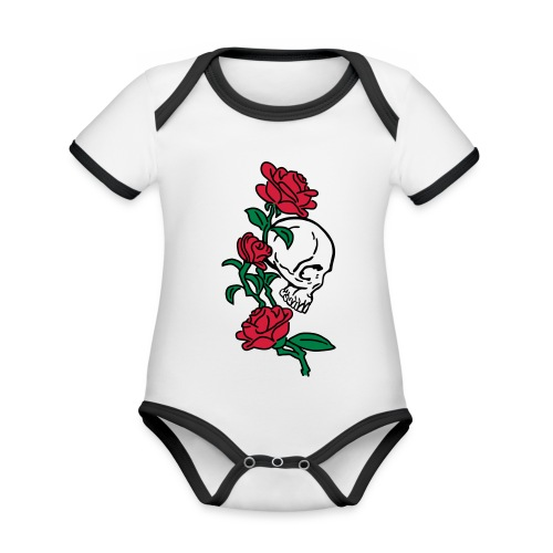 teschio e rose es123_2 - Body da neonato a manica corta, ecologico e in contrasto cromatico