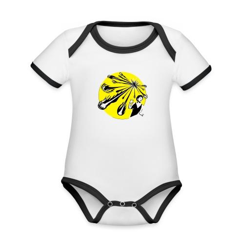 Yellow Meteor Shower Scream - Organic Baby Contrasting Bodysuit