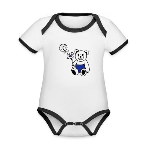 Teddybär mit Windmühle - Baby Bio-Kurzarm-Kontrastbody