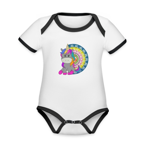 Unicorno Mandala - Body da neonato a manica corta, ecologico e in contrasto cromatico