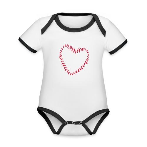 2581172 1029128891 Baseball Heart Of Seams - Organic Baby Contrasting Bodysuit