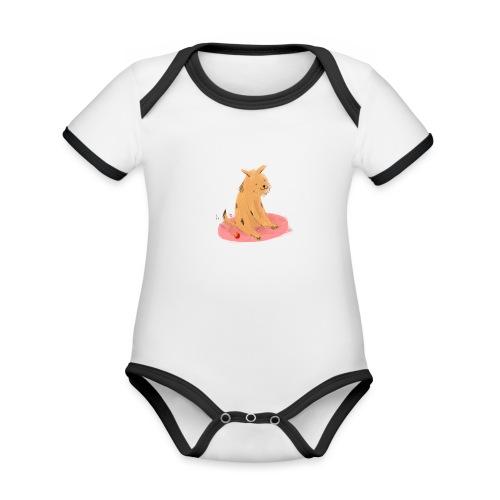 Doggo & ball - Baby contrasterend bio-rompertje met korte mouwen