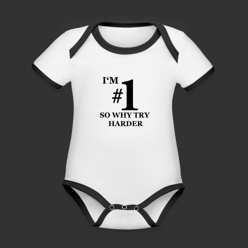 T-shirt, I'm #1 - Ekologisk kontrastfärgad kortärmad babybody