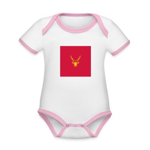 scimmiacervo sfondo rosso - Body da neonato a manica corta, ecologico e in contrasto cromatico