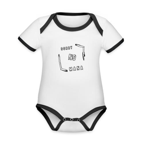 Sorry no mana - Body da neonato a manica corta, ecologico e in contrasto cromatico