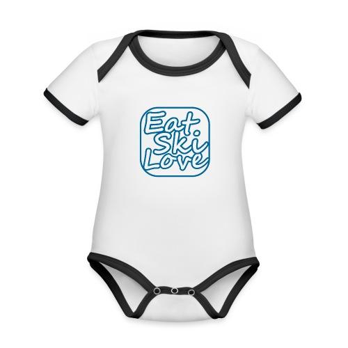 eat ski love - Baby contrasterend bio-rompertje met korte mouwen