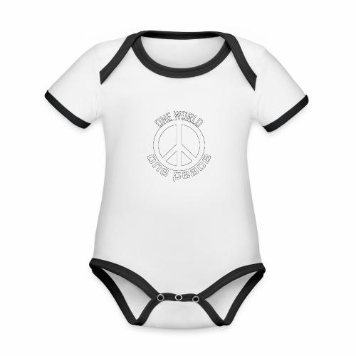One World, One Peace - Baby Bio-Kurzarm-Kontrastbody