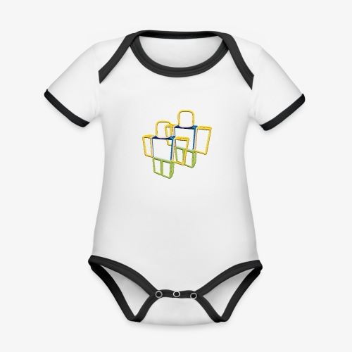 Sqaure Noob Person - Organic Baby Contrasting Bodysuit