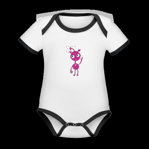 Kleines außerirdisches Mädchen - Baby Bio-Kurzarm-Kontrastbody
