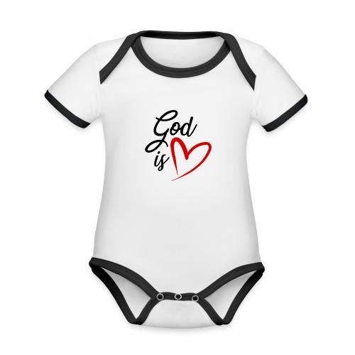 God is love 2N - Body da neonato a manica corta, ecologico e in contrasto cromatico