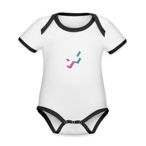Pixel, Polygone & Plauderei Logo ohne Schriftzug - Baby Bio-Kurzarm-Kontrastbody