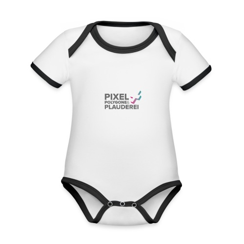 Pixel Polygone Plauderei Logo Grau - Baby Bio-Kurzarm-Kontrastbody