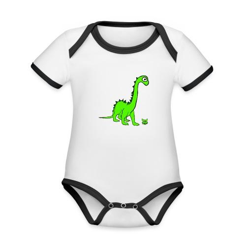 dinosauro - Body da neonato a manica corta, ecologico e in contrasto cromatico