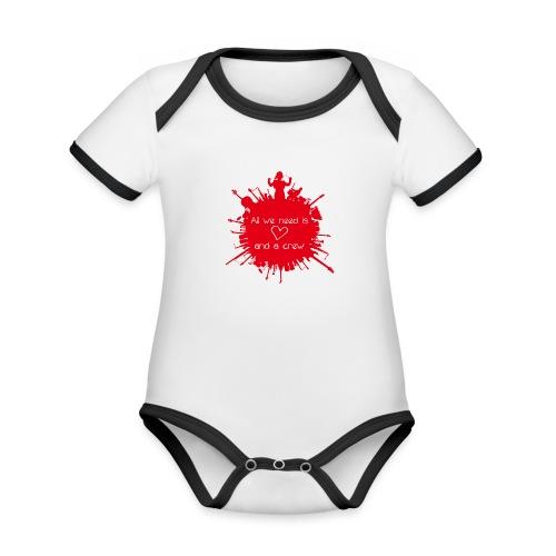 ALL WE NEED IS LOVE - Baby contrasterend bio-rompertje met korte mouwen