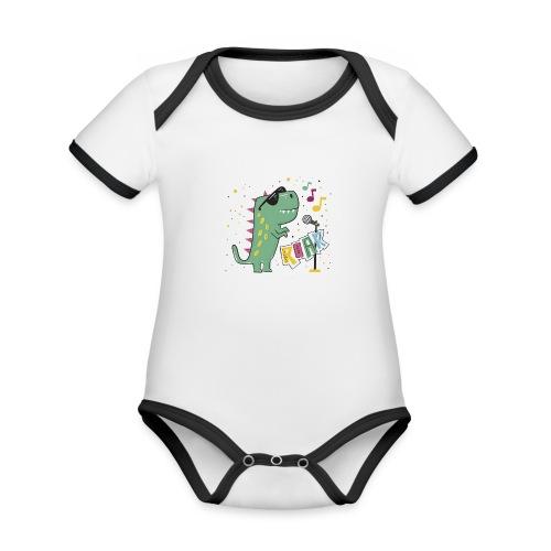 DINO MUSIC 1 - Body contraste para bebé de tejido orgánico