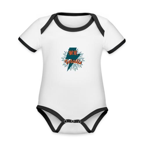 Esempio Logo o Stampa! - Body da neonato a manica corta, ecologico e in contrasto cromatico