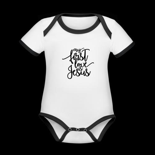 My fist love is Jesus - Baby Bio-Kurzarm-Kontrastbody