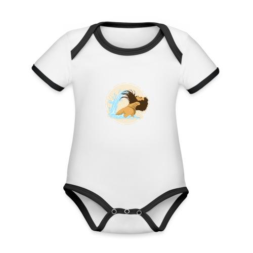Bart Welle - lustiges Geschenk für Männer mit Bart - Baby Bio-Kurzarm-Kontrastbody