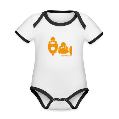 BASSET LOGO orange - Body Bébé bio contrasté manches courtes