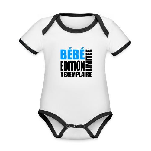 Bébé édition limitée 1 exemplaire - bleu et noir - Body Bébé bio contrasté manches courtes
