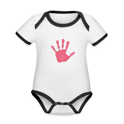 Hand - Ekologisk kontrastfärgad kortärmad babybody