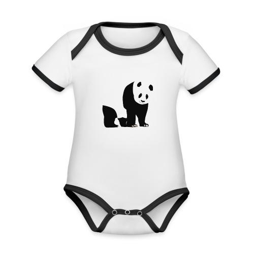 Panda - Vauvan kontrastivärinen, lyhythihainen luomu-body