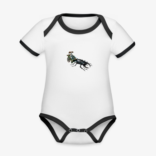 King Charles Spaniel with Stag beetle steed - Organic Baby Contrasting Bodysuit