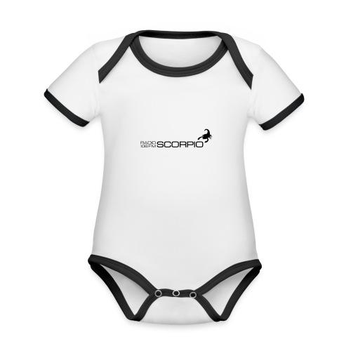 scorpio logo - Baby contrasterend bio-rompertje met korte mouwen